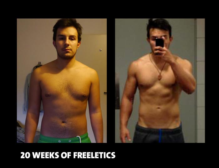 Transformation med gratis app Freeletics